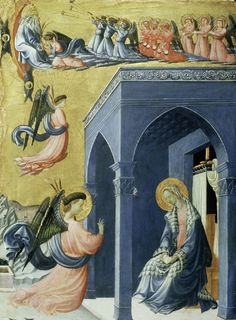 The Annunciation, 1420 by Paolo Uccello. Early Renaissance. religious painting