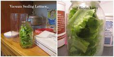 seal lettuce in mason jars, using a foodsaver.  Mine is still fresh after 2 weeks!!