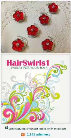 6 Hair Swirls in Dazzling Bright Red Flowers Perfect for Prom or Bridesmaids Wonderful  Wedding accessory or everyday hair Accessory.  Lots of beautiful colors and designs at HairSwirls1.com  or HairSwirls.com https://www.etsy.com/listing/491829584/