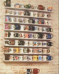 idea: media rack or small shelves for mug collection