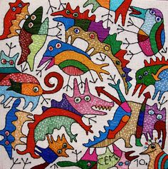 Textile works (30x30sm.) by Ivan Semesyuk, via Behance