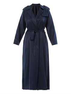 $1,115, Navy Trenchcoat: Silk Trench Coat by Adam Lippes. Sold by MATCHESFASHION.COM. Click for more info: http://lookastic.com/women/shop_items/77832/redirect