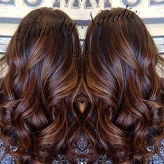 long brown hair with caramel