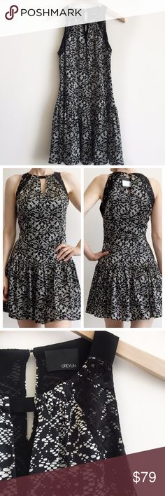 """greylin • lace print silk drop waist dress • s This fun dress from Greylin features a black and ivory lace print, lace overlay at shoulders, keyhole  in front and back, drop waist and pleating along hem. Invisible side zipper. Fully lined.   • size S • 35"""" bust 