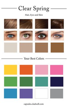 How To Create Your Personal Color Palette (Plus Take Our Color Quiz) — Cladwell - Makeup Style 2020 Bright Spring, Clear Spring, Clear Winter, Warm Spring, Spring Color Palette, Spring Colors, Color Palettes, Blue Eye Color, Look Star