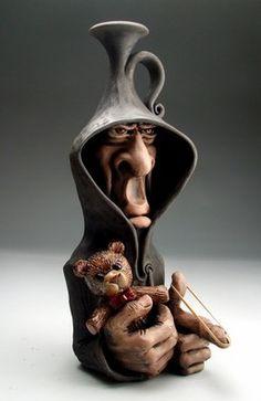 Gangster Inner Child Face Jug Pottery Raku Folk Art Sculpture by Grafton