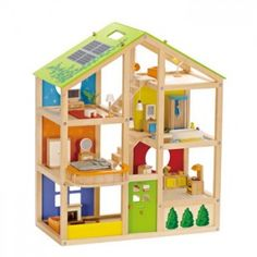 Casa para muñecas de madera grande con muebles