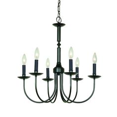 Artcraft Lighting Wrought Iron 22.5-in 6-Light Ebony Black Wrought Iron Candle…