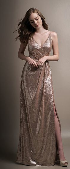 6ae26985ec3c Delicate Sequin Lace Spaghetti Straps Neckline Floor-length A-line  Bridesmaid Dress Sequin Bridesmaid