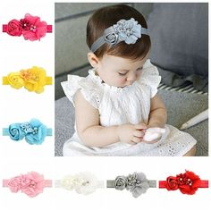 Set Of 12 Baby/Girl's Pearl Accented Ribbon Rose Elastic Headbands