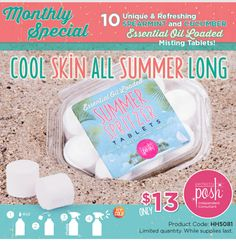 What a cool idea for the beach!  Just drop 1 fizzy tablet into 1/2 cup of water into a mister bottle and spray as needed to refresh, hydrate and cool off!    https://www.perfectlyposh.com/poshness4ever/specials/summer-spritzers