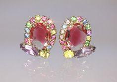 Vintage Pink Pastel Art Glass Earrings  Circa by RhinestoneByrd