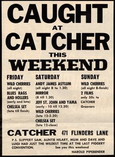 Melbourne Gig Guide 1960s