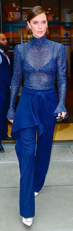 Who made Charlize Theron's white pumps, blue pants and shirt? Dior Dress, Valentino Dress, Peplum Dress, Jennifer Hudson, Jennifer Connelly, Blue Pumps, White Pumps, Charlize Theron Style, Saint Laurent Dress