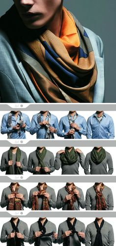 #Men - How to tie a scarf 4 ways - #tutorial