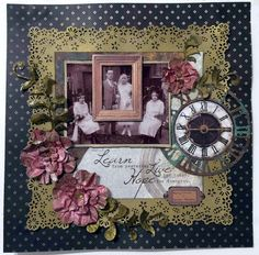 Created for Merly Impressions with Antique Bazaar Heritage Scrapbook Pages, Vintage Scrapbook, Scrapbook Designs, Scrapbooking Layouts, Vintage Pictures, Old Pictures, Photo Layouts, Hello Everyone, Sketches