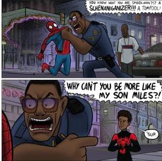 """My chest hairs are tingling."" It's ironic Jefferson is wishing for MCU Spider-Man to be more like Miles when it's already influenc. Cloudy with a Chance of Spider-Verse Marvel Dc Comics, Funny Marvel Memes, Marvel Jokes, Dc Memes, Funny Comics, Marvel Avengers, Avengers Memes, Spider Verse, Marvel Cinematic Universe"