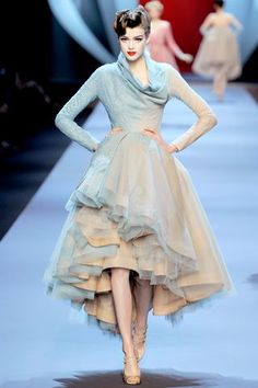 hi low blue tulle gown/dress with long sleeves