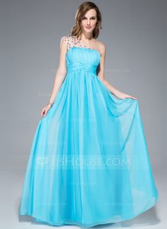 Prom Dresses - $109.99 - Empire One-Shoulder Floor-Length Chiffon Tulle Prom Dress With Ruffle Beading (018047255) http://jjshouse.com/Empire-One-Shoulder-Floor-Length-Chiffon-Tulle-Prom-Dress-With-Ruffle-Beading-018047255-g47255