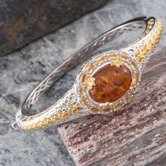 Baltic Amber and Brazilian Citrine Bangle in 14K Yellow Gold and Platinum Overlay Sterling Silver (Nickel Free)