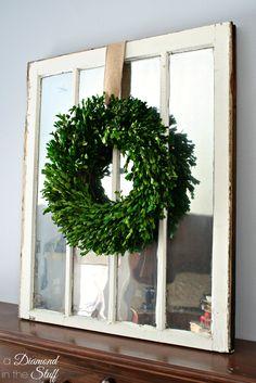 Simple Window Pane Mirror using a salvaged window and Krylon looking glass spray paint.