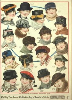 """1918- Winter hats of velvet, fur, and wool felt were small and round in shape. Notice a few are shaping into the classic 20's """"Cloche"""" hat."""