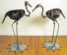 "yard art ideas from junk | Gemini."" Various scrap metal pieces."