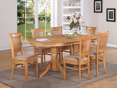 Vancouver 7PC Oval Dinette Dining Table 6 Microfiber Chairs,Oak Finish