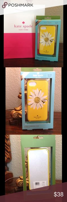 Kate Spade ♠️Daisy Hybrid Hardshell Case iPhone KATE SPADE ♠️ DAISY GEMS HYBRID HARD PLASTIC IPHONE 7 CASE  Brand New In Box Daisy design with Yellow background Gold tone Kate Spade Logo on the exterior front Perfect for Spring  Brand new design Debuted Feb 2017 Will ship 24 hours .  It comes with Free Kate Spade Shopping paper Bag.  From smoke free environment kate spade Other