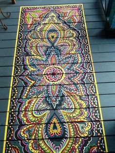 Top 10 Stencil and Painted Rug Ideas for Wood Floors While design ideas for the painted wood floors are plenty, the hottest trends today are stenciled floors and painted floor rugs. And this can be a fantasti Painted Porch Floors, Porch Flooring, Painted Rug, Hand Painted, Porch Paint, Painted Decks, Laminate Flooring, Painted Floor Cloths, Stenciled Floor