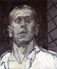 Self portrait (1998) by Belgian painter Sam Dillemans  (b.1958). Oil on canvas, 60 x 60 cm. via Ons Erfdeel