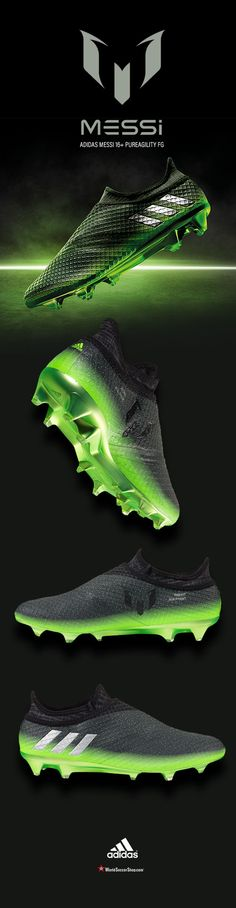 adidas MESSI 16+ PUREAGILITY FG - A Galaxy Print upper is featured along with solar green detailing and a gradient effect. The iconic three stripes are placed on the sides in silver coloring as a representation of the silverware Messi has won during his career and the trophies that are yet to come. Available now at WorldSoccerShop.com