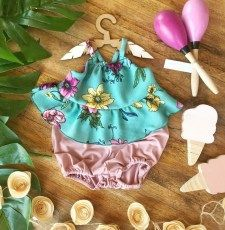 Mint Floral Top and Bloomer Floral Tops, Mint, Rompers, Dresses, Fashion, Vestidos, Moda, Top Flowers, Fashion Styles