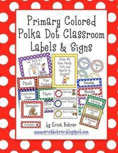 Primary Polka Dot Classroom Labels and Signs