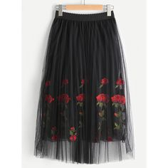 Rose Embroidered Layered Mesh Skirt (13 AUD) ❤ liked on Polyvore featuring skirts, rose skirt, mesh skirt, rosette skirt, multi layered skirt and double layer skirt