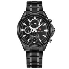 NAVIFORCE Relogio Masculino Mens Watches Top Brand Luxury Black Steel Quartz Watch Men Casual Sport Chronograph Wristwatch