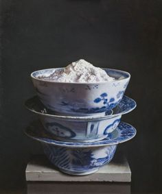 """Bowls with flour"", 2013. Oil on panel. Painting by Uzbek artist Erkin, born in 1957 in Tashkent, the USSR"