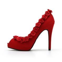 Red Rose High Heel Shoe Red Wedding Shoes Rose by ChristyNgShoes, $93.00