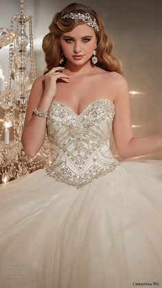 christina wu wedding dresses 2015 strapless sweetheart neckline embroidered bodice tulle skirt wedding ball gown dress 15574 close up