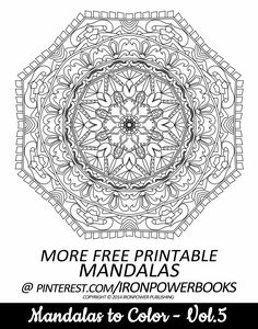 FREE Printable Mandala Coloring Pages   Please use freely for personal non-commercial use   Visit http://www.amazon.com/Mandalas-Color-Mandala-Coloring-Adults/dp/149733716X for a complete paperback copy. #freemandalacoloringpages