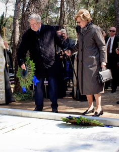King Constantine II and his wife Queen Anne Marie of Greece attend a dirge and the Orthodox Mass in memory of King Paul in the cemetery at Tatoi Palace on the anniversary of King Paul I's death on 16.03.2015 in Athens, Greece