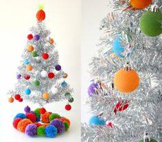 I'd love to find these pom pom ornaments, or a way to make them in the US for the super tacky (but Super fun and cheap) trees I bought for the girls' rooms.  Silver tinsel tree with the cutest poms ever!!!