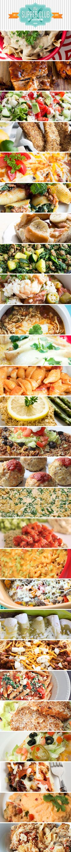 A month's worth of skinny, sensational dinners with calorie counts and Weight Watcher Plus Points®. Skinny Mom even provides weekly grocery lists and suggested side dishes!