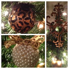 """Homemade """"Leopard Glamour and Pearl"""" Christmas Ornaments"""
