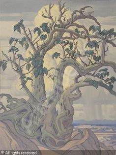 Wild Fig Tree by Jacobus Hendrik Pierneef Tree Paintings, Landscape Paintings, South African Artists, Witch Art, Fig Tree, Midi, Tree Art, Acrylics, Art Images