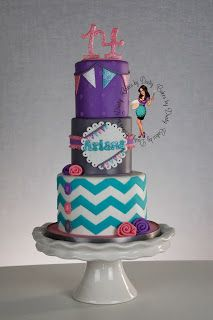 blue chevron cake Cakes by Dusty