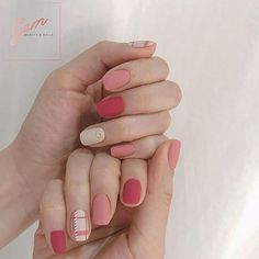 50 Beautiful Nail Art Designs & Ideas Nails have for long been a vital measurement of beauty and Korean Nail Art, Korean Nails, Gem Nails, Hair And Nails, Cute Nails, Pretty Nails, Negative Space Nails, Colorful Nail Art, Minimalist Nails