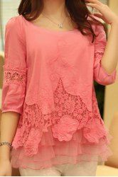 Stylish Scoop Neck 3/4 Sleeve Spliced Solid Color Women's Blouse
