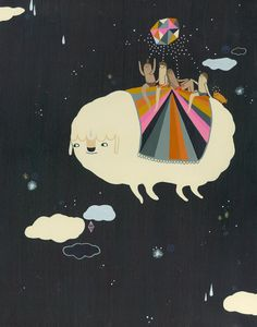 Cloud Travel    This is a print of my original gouache painting. It is printed on a beautiful archival matte heavyweight paper (Hahnemuhle 308/ gsm)