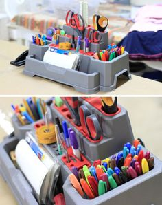 Need an organization system for your craft supplies? We love the way Ashley used a tool stand to keep her sewing station neat and tidy! Sewing Station, Craft Station, Scrapbook Room Organization, Craft Organization, Classroom Organization, Craft Room Storage, Craft Rooms, Storage Ideas, Ideas Para Organizar